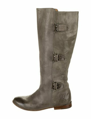 Frye Leather Distressed Accents Riding Boots Grey
