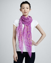 Jimmy Choo Sorento Animal-Print Scarf, Orchid/White