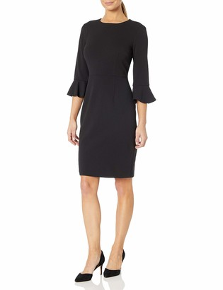 Donna Morgan Women's Kendall 3/4 Bell Elbow Sleeve Sheath Dress
