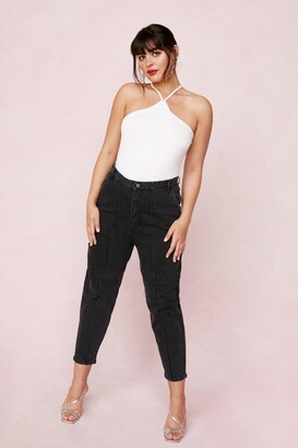Nasty Gal Womens Put a Crop to It Plus High-Waisted Jeans - Black - 16, Black