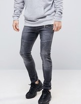 Asos Super Skinny Jeans With Double Zip And Biker Details In Washed Black