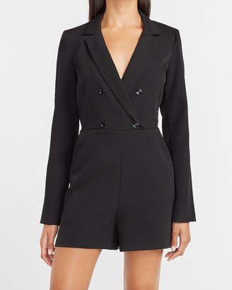Express Long Sleeve Double Breasted Blazer Romper