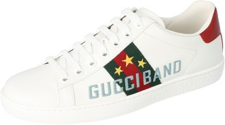 Gucci White Leather Band Embroidery Ace Low-Top Sneakers Size 35