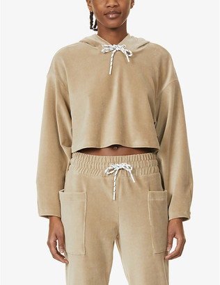 Michi Hygge cropped cotton-blend hoody