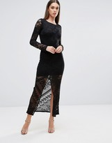 TFNC Lace Maxi Dress With Front Slit