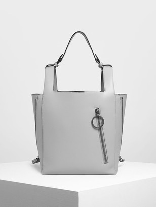 Charles & Keith Ring Zip Pocket Square Handle Large Tote