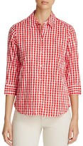 Foxcroft Sue Crinkled Gingham Button-Down Shirt