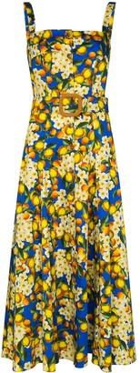 Borgo de Nor Camilla belted lemon-print dress