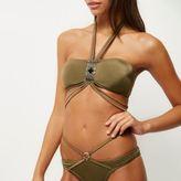 River Island Womens Khaki halter neck bandeau bikini top