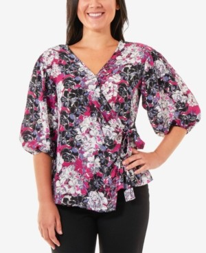 NY Collection Petite Printed Blouson-Sleeve Wrap Top