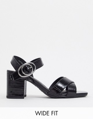 New Look wide fit faux croc heeled sandals in black