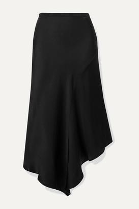 Anine Bing Bailey Asymmetric Silk-satin Midi Skirt - Black