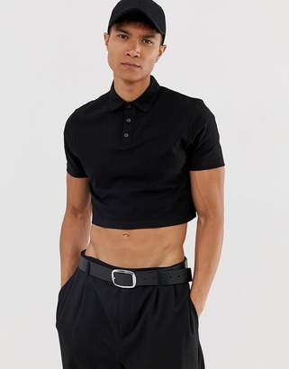 Asos Design DESIGN relaxed jersey cropped polo in black