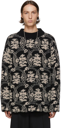 Dries Van Noten Black and Off-White Jacquard Sweater