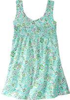 Smocked floral knit dress
