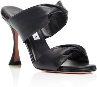 Aquazzura Leather Twist Heel Slide Sandals