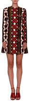 Valentino Long-Sleeve Cuban-Flower A-Line Mini Dress, Multi