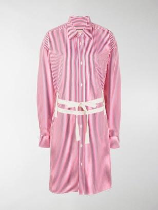 Plan C Double Belt Striped Shirt Dress