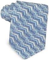Missoni Light Blue Printed Silk Narrow Tie