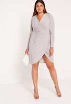 Missguided Plus Size Slinky Wrap Dress Grey