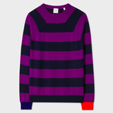 Paul Smith Men's Purple And Navy Stripe Cashmere Raglan-Sleeve Sweater