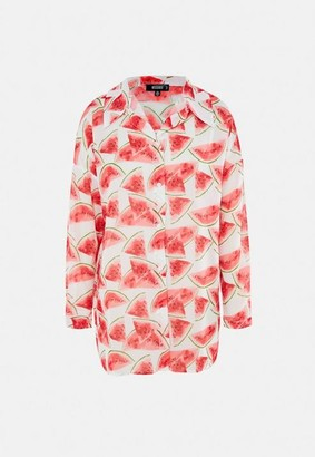 Missguided Watermelon Print Sheer Beach Cover Up Shirt