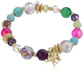 "lonna & lilly Sun Showers"" Worn Gold-Tone and Multi-Beaded Tassel Stretch Bracelet"