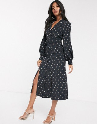 Fashion Union shirt dress with belted waist in allover ditsy floral