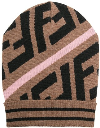 Fendi Kids FF motif intarsia-knit hat