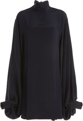 Victoria Beckham Balloon-Sleeve Double-Faced Crepe Mini Dress