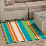Christopher Knight Home Roxanne Abby Indoor/Outdoor Turquoise Stripe Rug (7' x 10')