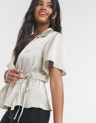 ASOS DESIGN short sleeve satin wrap top in gold