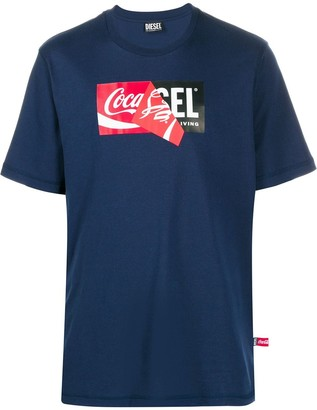 Diesel Recycled fabric T-Shirt with doublelogo print