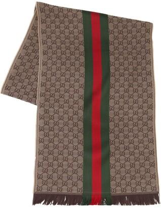 Gucci Logo Wool & Silk Scarf