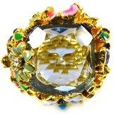 Kenneth Jay Lane Tanzanite Crystal & Multi Flower Garden Party Ring