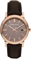 Burberry Watch, Men's Swiss Smooth Brown Leather Strap 38mm BU9013