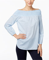 MICHAEL Michael Kors Striped Off-The-Shoulder Peasant Blouse