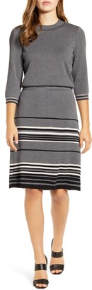 Ming Wang Mixed Stripe Blouson Dress