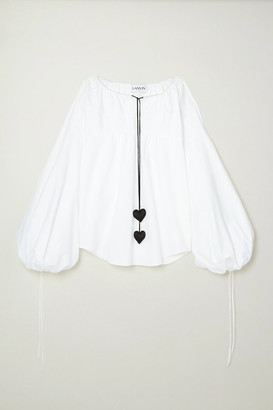 Lanvin Tie-detailed Gathered Cotton-poplin Blouse - White