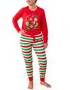 Matching Women's The Grinch Two Piece Plus Size Pajamas, Online Only