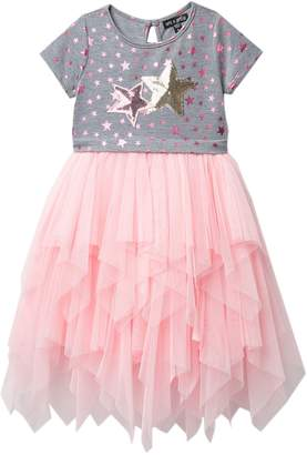 Ava And Yelly Short Sleeve Star Tiered Tulle Dress (Little Girls)