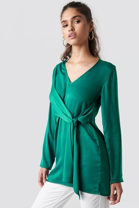 NA-KD V-Neck Tie Waist Blouse Green