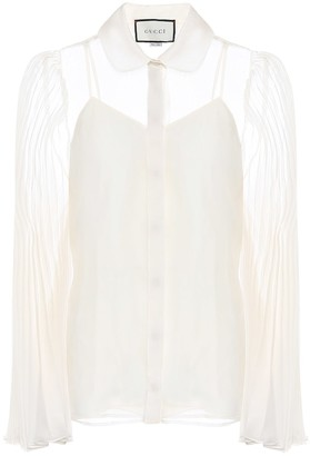 Gucci Pleated silk-blend organdy shirt