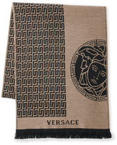 Versace Woven Greek Key Logo Scarf