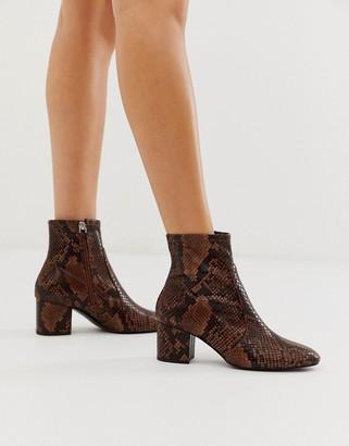 Aldo Brown Snake Sock Mid Heel Boot