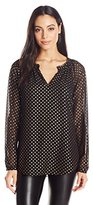 NYDJ Women's Foil Dot Print Blouse