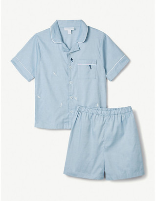 The Little White Company Shark-embroidered cotton pyjamas 1-6 years