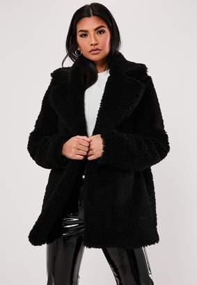 Missguided Black Faux Fur Short Collar Jacket