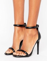 Missguided Rounded Strap Barely There Heeled Sandal Black