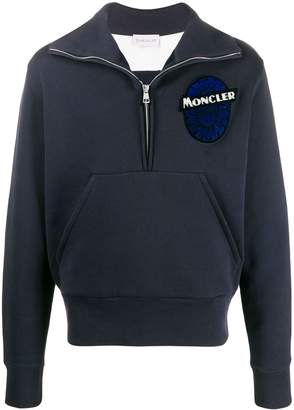Moncler logo-embroidered zip-up sweatshirt